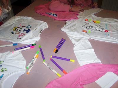 Designing their own t-shirts