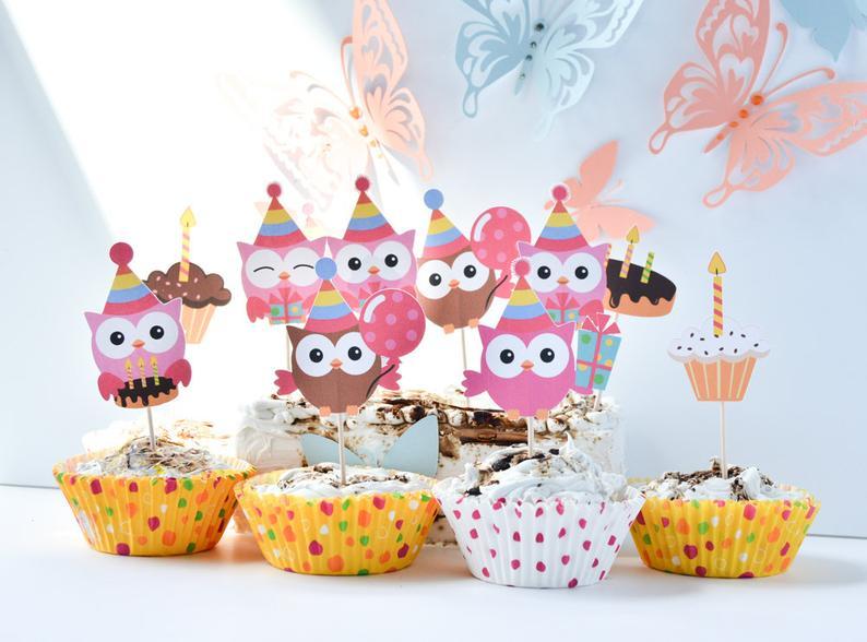 12 Owl Birthday Party Supplies Owl Cake Decoration Owl Cake image 0
